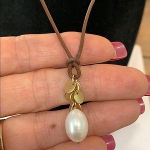 💐5/25 13 mm freshwater pearl brown cord drop